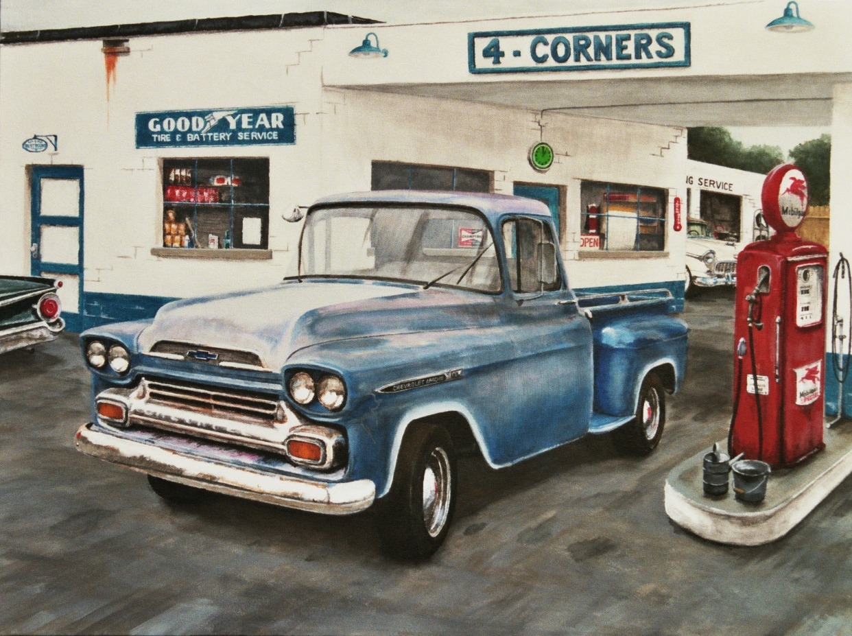 Vintage Truck and gas station