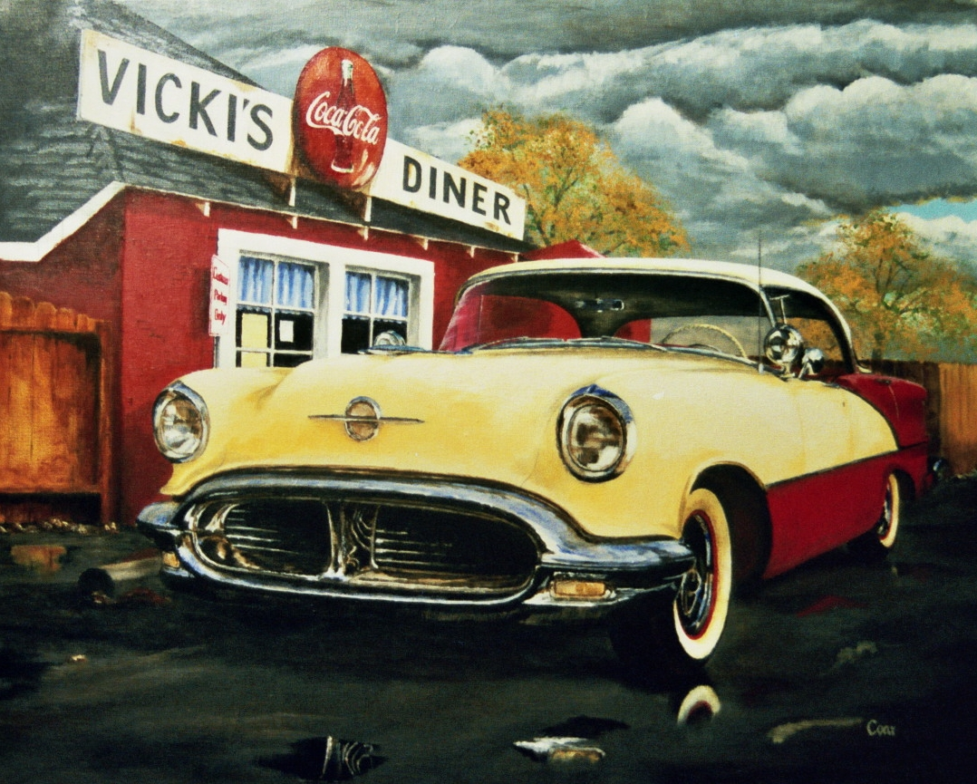 Vintage car in front of diner painting