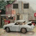 Porsche vor Scheune Buntstiftzeichnung
