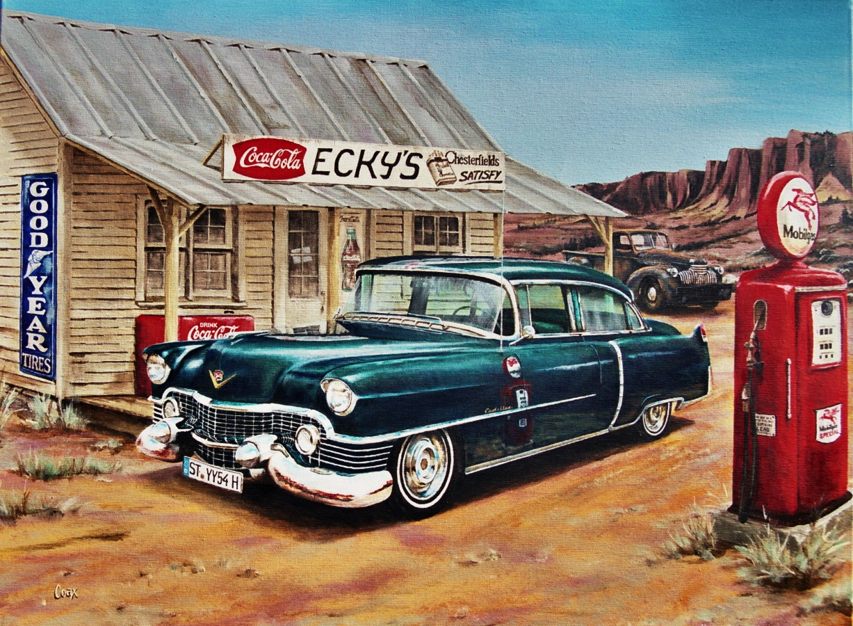 US vintage Gas Station and Cadillac