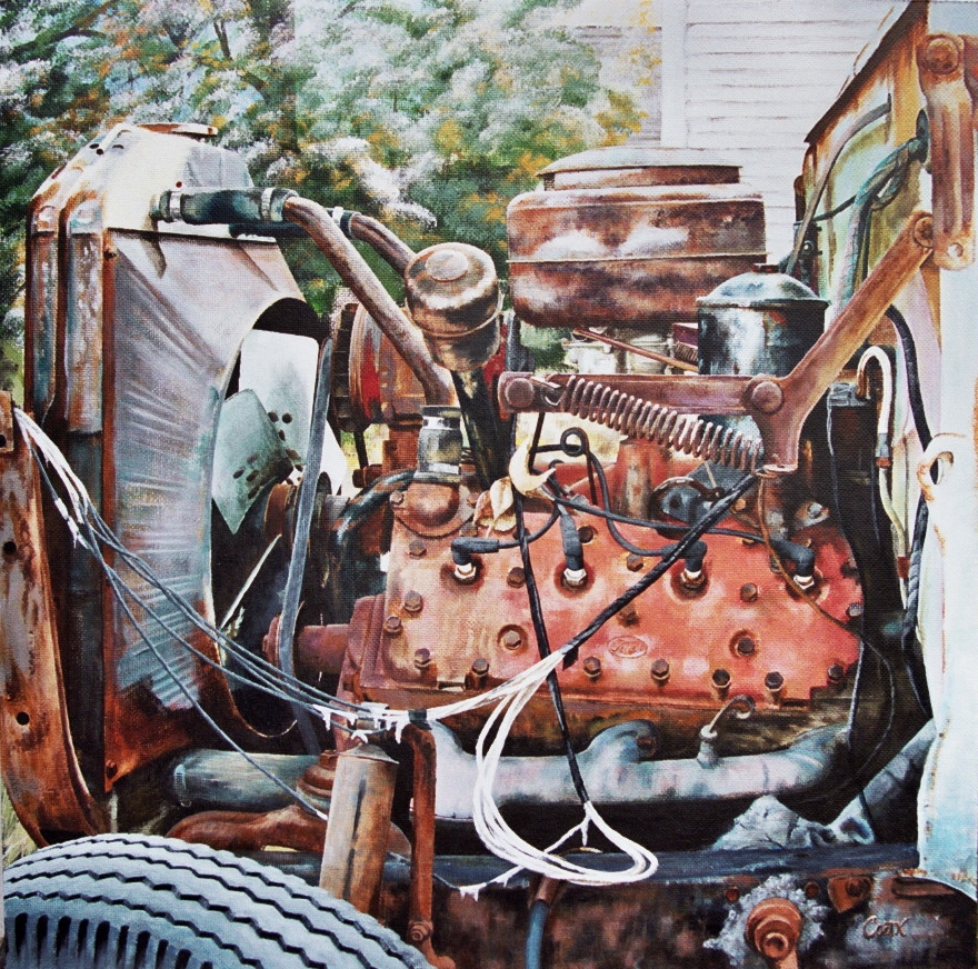 Ford Flathead V8 engine painting