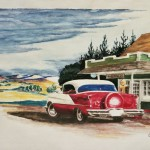 Watercolor painting of vintage Oldsmobile