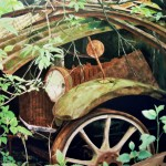 Wooden Spoked Wheel Painting