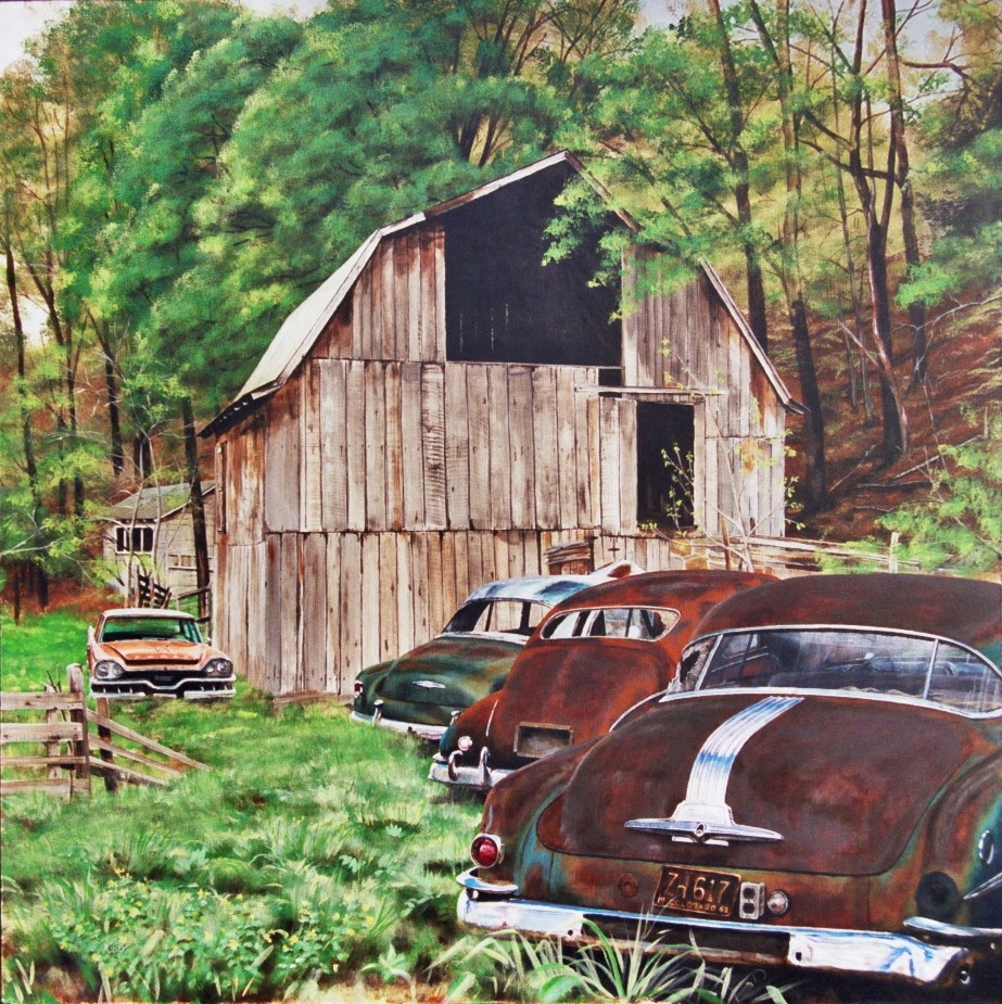 West Virginia Barn with Cars Painting