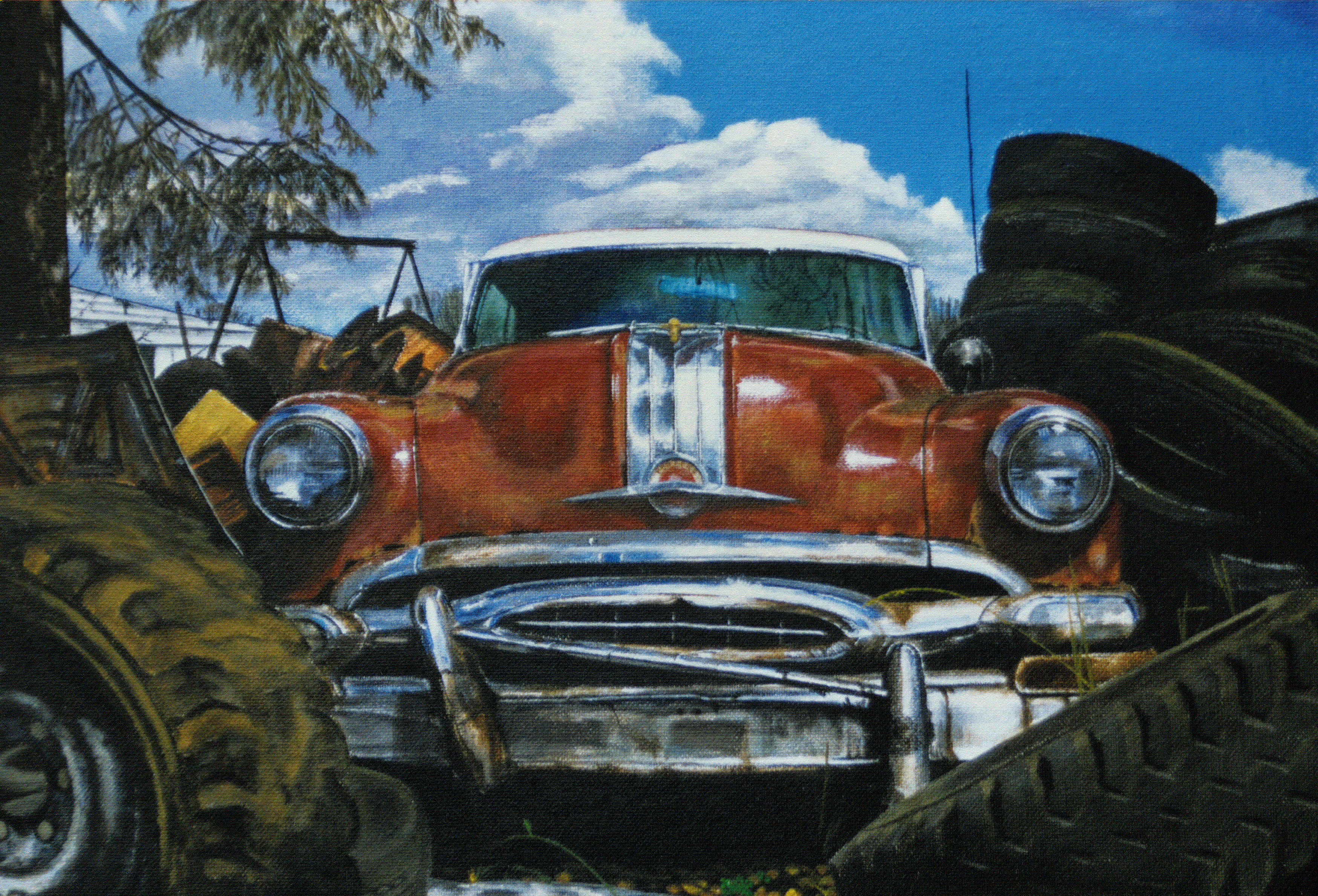 Pontiac Chieftain Acrylic Painting