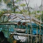 Blue Pontiac Acrylic Painting