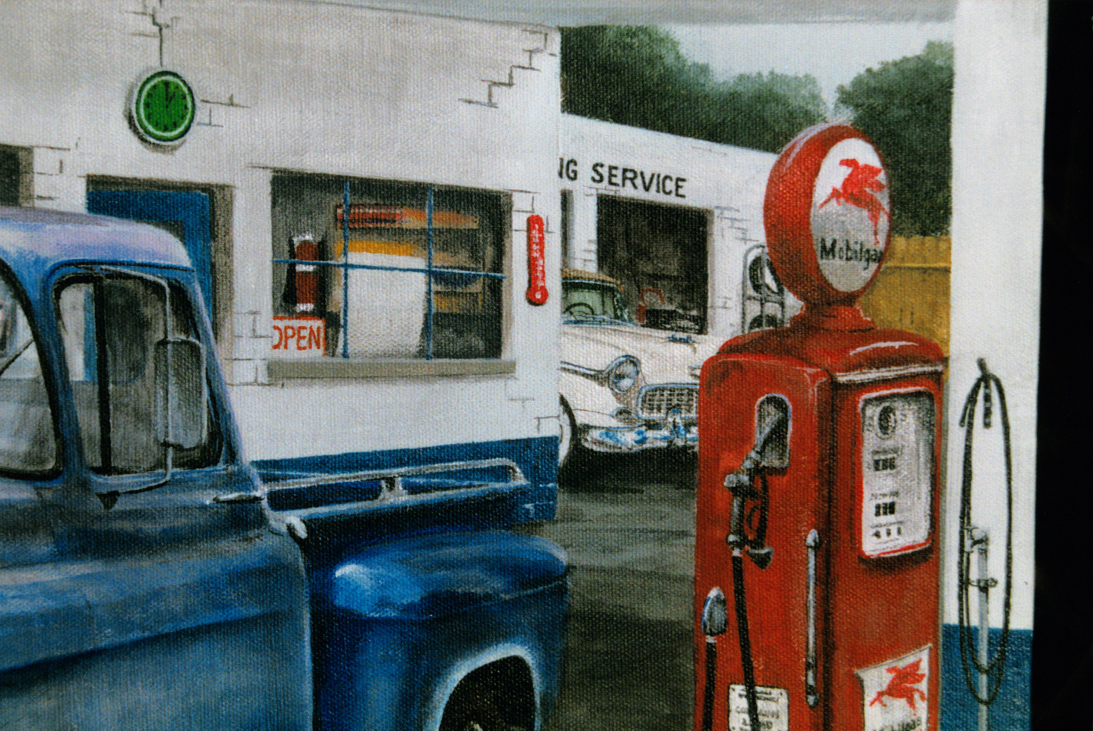 Vintage truck and gas station painting