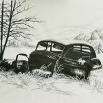 Ink drawing abandoned car in Montana landscape