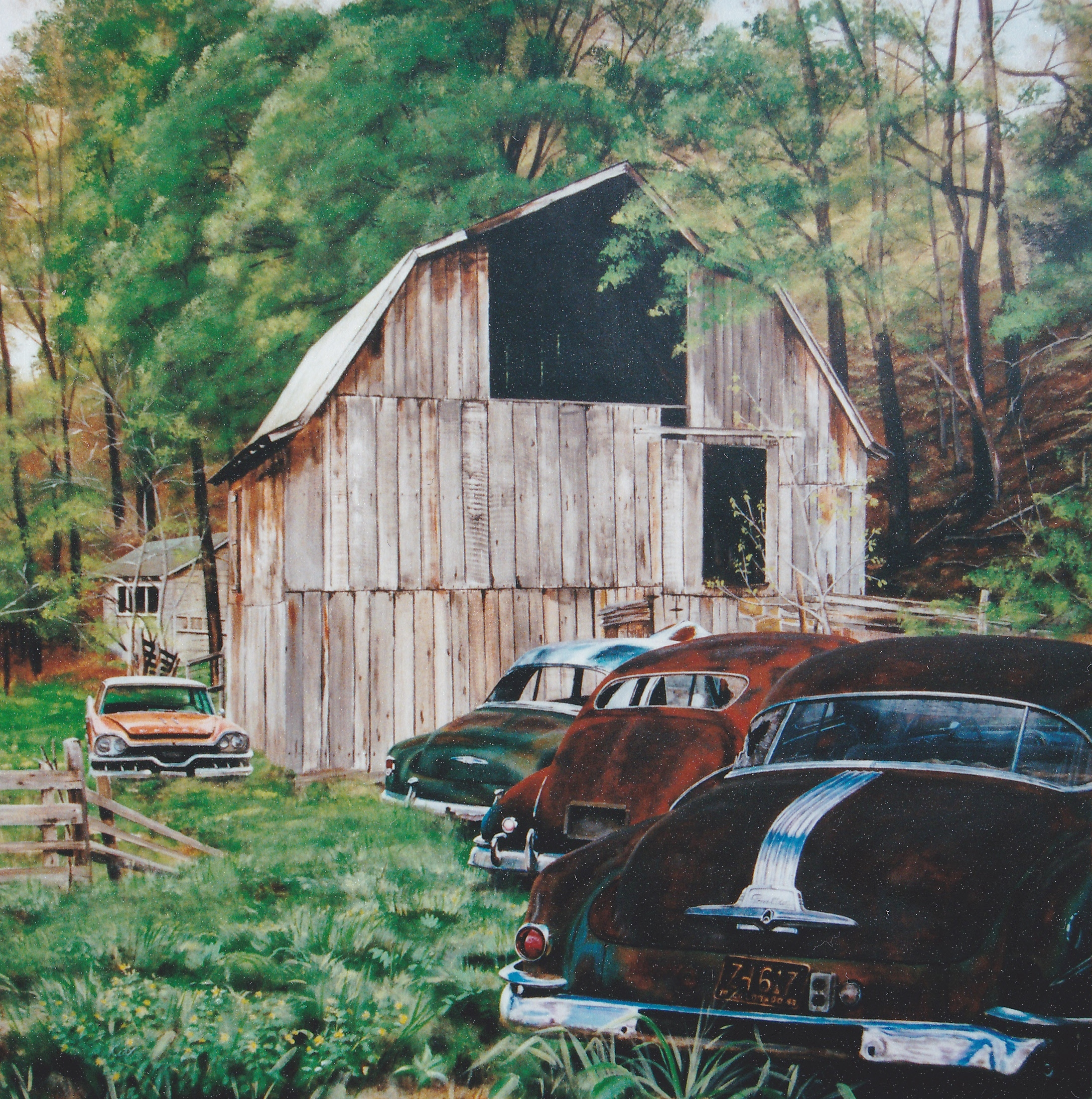 Barn and vintage cars painting