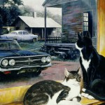 Cats and vintage cars painting