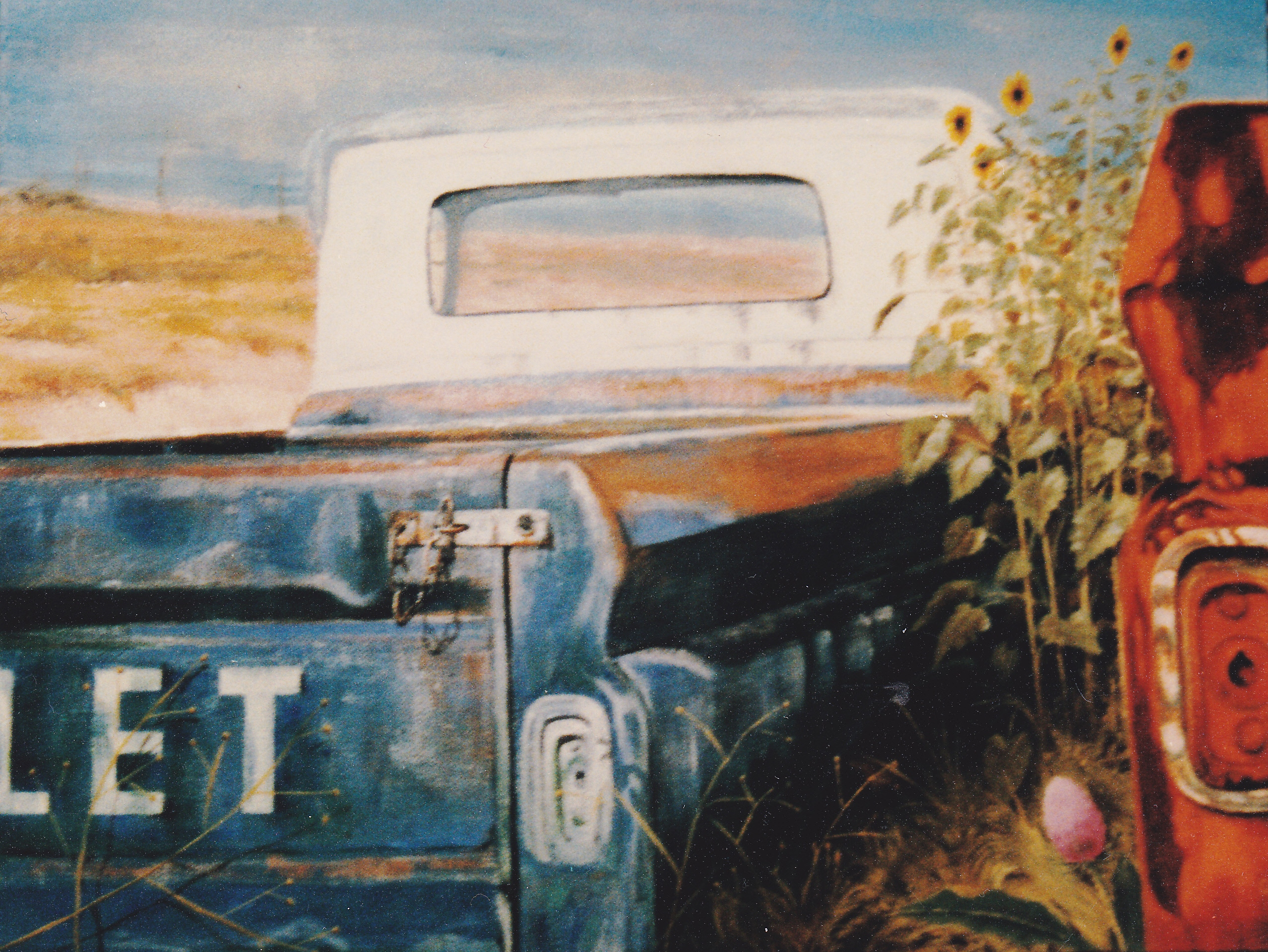 acrylic painting Chevy trucks