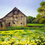 Barn with Flowers Painting