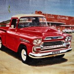 Vintage truck and diner painting