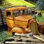 Rusty truck with wood pile Painting