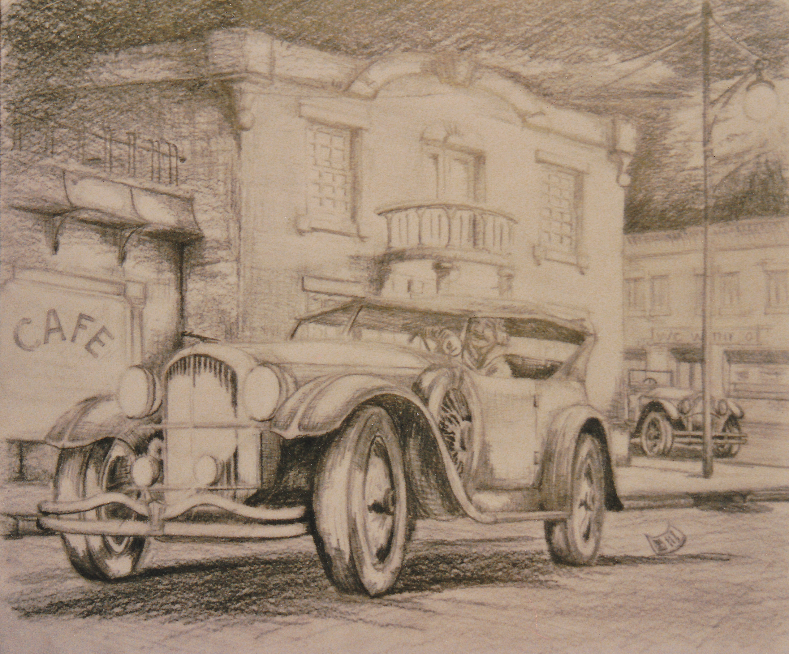 pencil sketch car
